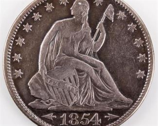 Lot 399 - Coin 1854 Arrows Seated Liberty Half Dollar