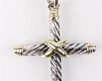 Lot 1 - Jewelry Sterling David Yurman Cross Necklace