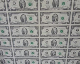 $2.00 bills sheet uncut currency and collectable coins