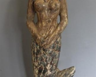 A Large Carved Wooden Gessoed Mermaid Figure