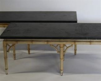 A Pair Of Slate Top Tables With Bamboo Form