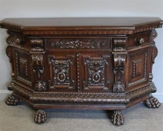 Antique and Highly Carved Baroque Style Cabinet