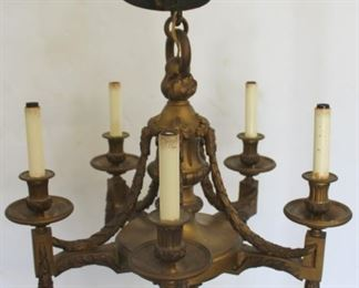 Antique And Quality Gilt Bronze Chandelier