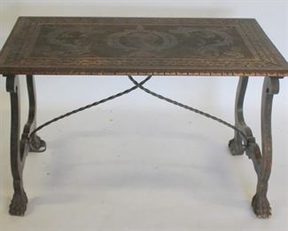 Antique Continental Carved Trestle Table