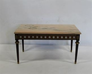 Antique Marble Top Coffee Table With Porcelain