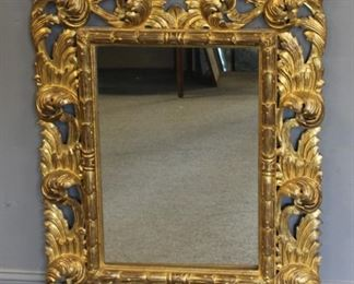 Antique Rococo Carved Giltwood Italian Mirror