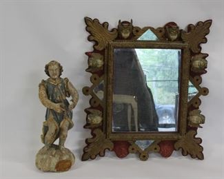 Antique Wood Santos Together With A Figural Mirror
