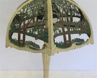 Arts And Crafts Painted Metal Table Lamp As Is