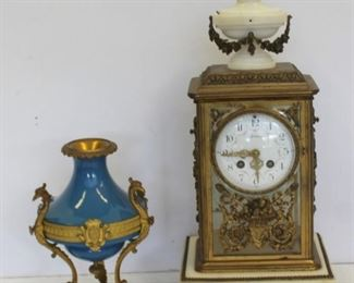 Bronze Mounted Carriage Clock Together With A