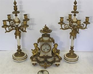 Fine Quality Bronze And Marble Clock Garniture Set