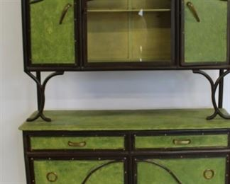 French Antique Iron And Wood Piece Cabinet