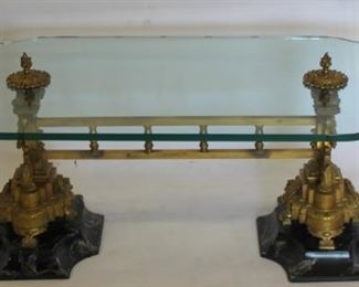 Glass Top Coffee Table With Gilt Bronze Base