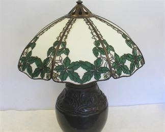 HANDEL Signed Table Lamp Leaf With Yellow