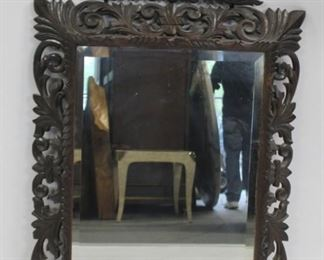 Highly Carved Wood Mirror