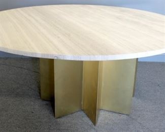 Impressive Stone Top Table With Star Form Brass