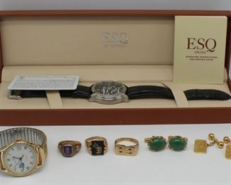 JEWELRY Assorted Mens Jewelry and Watch Grouping