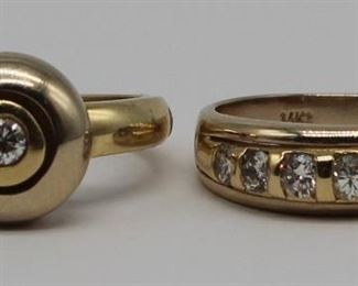 JEWELRY kt Gold and Diamond Ring Grouping