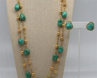 JEWELRY kt Gold and Turquoise Jewelry Suite