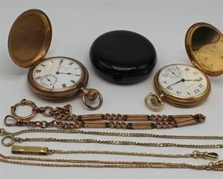 JEWELRY kt Gold Pocket Watch and Fob Grouping