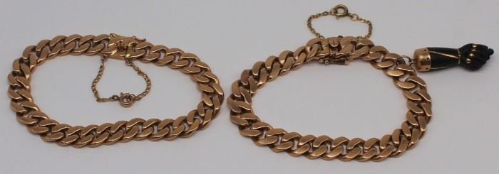 JEWELRY Pair of kt Gold Flat Curb Bracelets