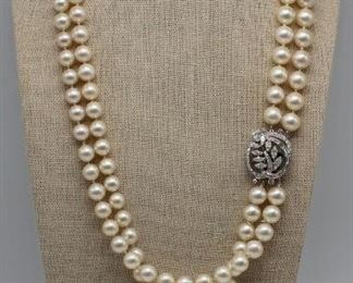 JEWELRY Platinum and Diamond Pearl Necklace