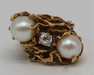 JEWELRY Signed kt Gold Pearl and Diamond Ring