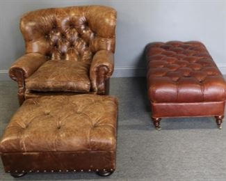 Leather Club Chair And Leather Ottomans