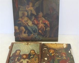 Lot of Antique Religious Icons A Painting