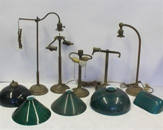 Lot of Assorted Student Lamps and Shades