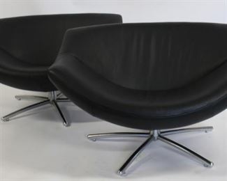 MIDCENTURTY Style Pair Of Leather Upholstered