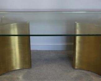 MIDCENTURY Brass And Glass Twin Pedestal Dining