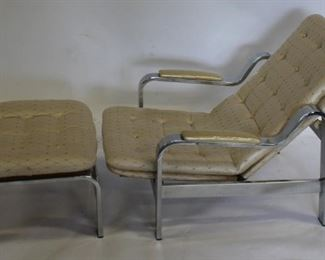 MIDCENTURY Chrome Lounge Chair And Ottoman