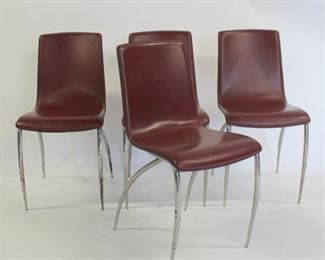 MIDCENTURY Italian Leather And Chrome Chairs
