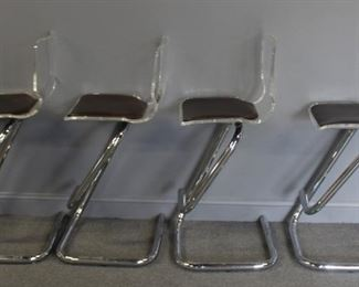 MIDCENTURY Lucite And Chrome Stools