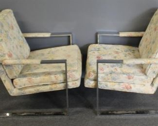 MIDCENTURY Pair Of Chrome Upholstered Lounge