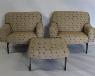 MIDCENTURY Pair Of Lounge Chairs An Ottoman