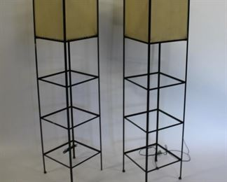 MIDCENTURY Pair Of Metal Box Form Standing Lamps