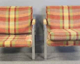 MIDCENTURY Pair Of Upholstered Chrome Chairs