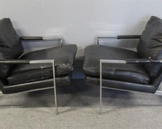 MIDCENTURY Pair Of Upholstered Chrome Lounge