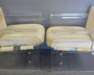 MIDCENTURY Pair Of Upholstered Lucite And Chrome