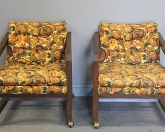 MIDCENTURY Pair Of Upholstered Club Chairs