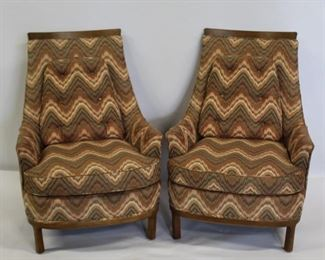 MIDCENTURY Pair Of Upholstered High Back Chairs