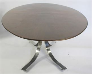 MIDCENTURY Style Chrome Table With Oval Wood