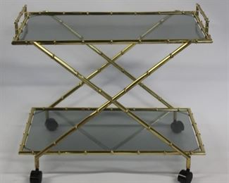MIDCENTURY Style Gilt Metal Bamboo Form T Cart