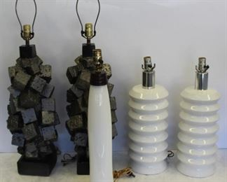 MIDCENTURY Style Grouping Of Lamps