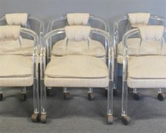 MIDCENTURY Upholstered Lucite Chairs