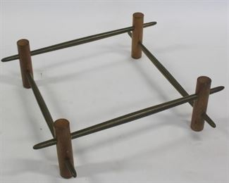 MIDCENTURY Wood Coffee Table with Metal Stretcher