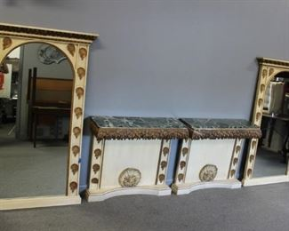 Pair Of Antique Carved Gilt And Paint Decorated