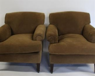 Pair Of Custom Maison Art Suede Upholstered