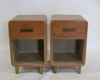 Pair Of Leather Night Stands With Brass Feet